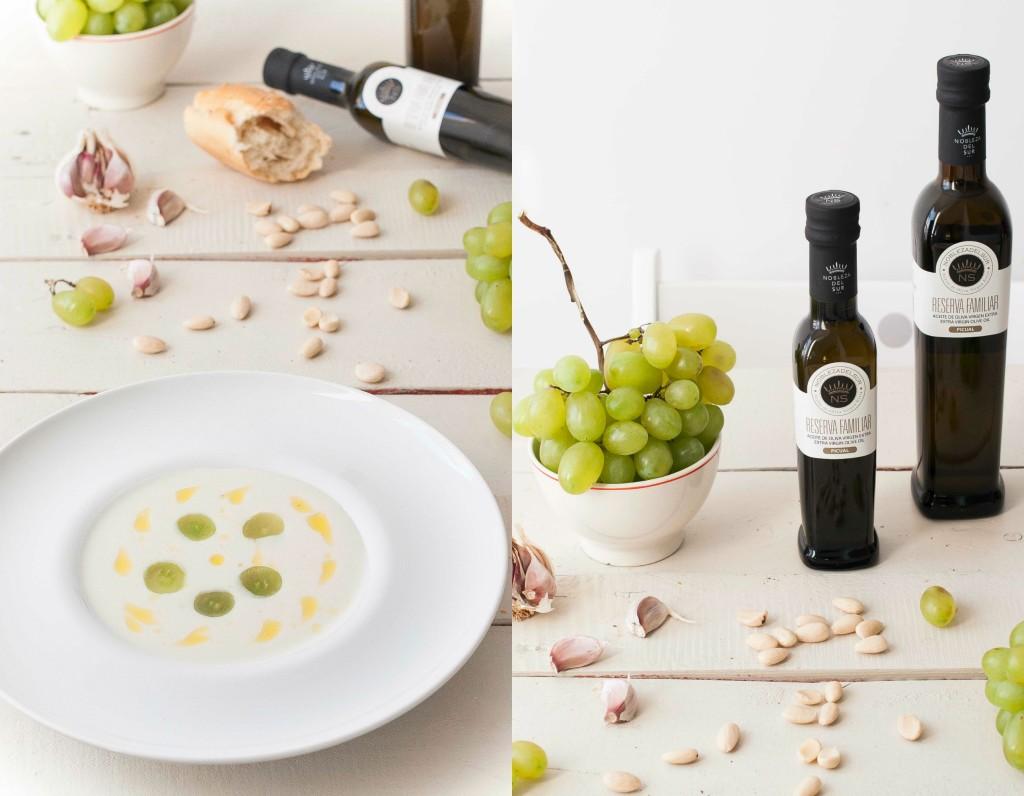Ajo blanco con uvas verdes y aceite de oliva virgen extra nobleza del sur