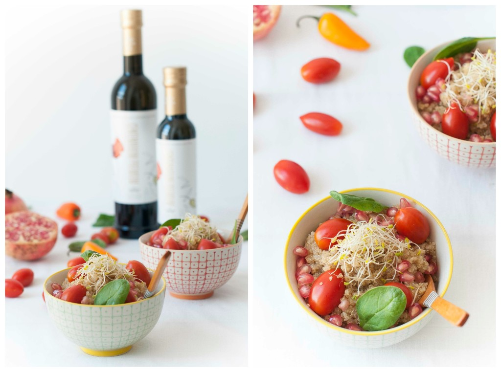 Ensalada de quinoa con granada y espinacas AOVE recetas