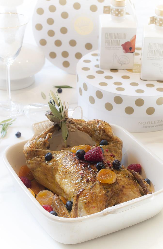 Pollo asado con frutos secos y AOVE NOBLEZA DEL SUR