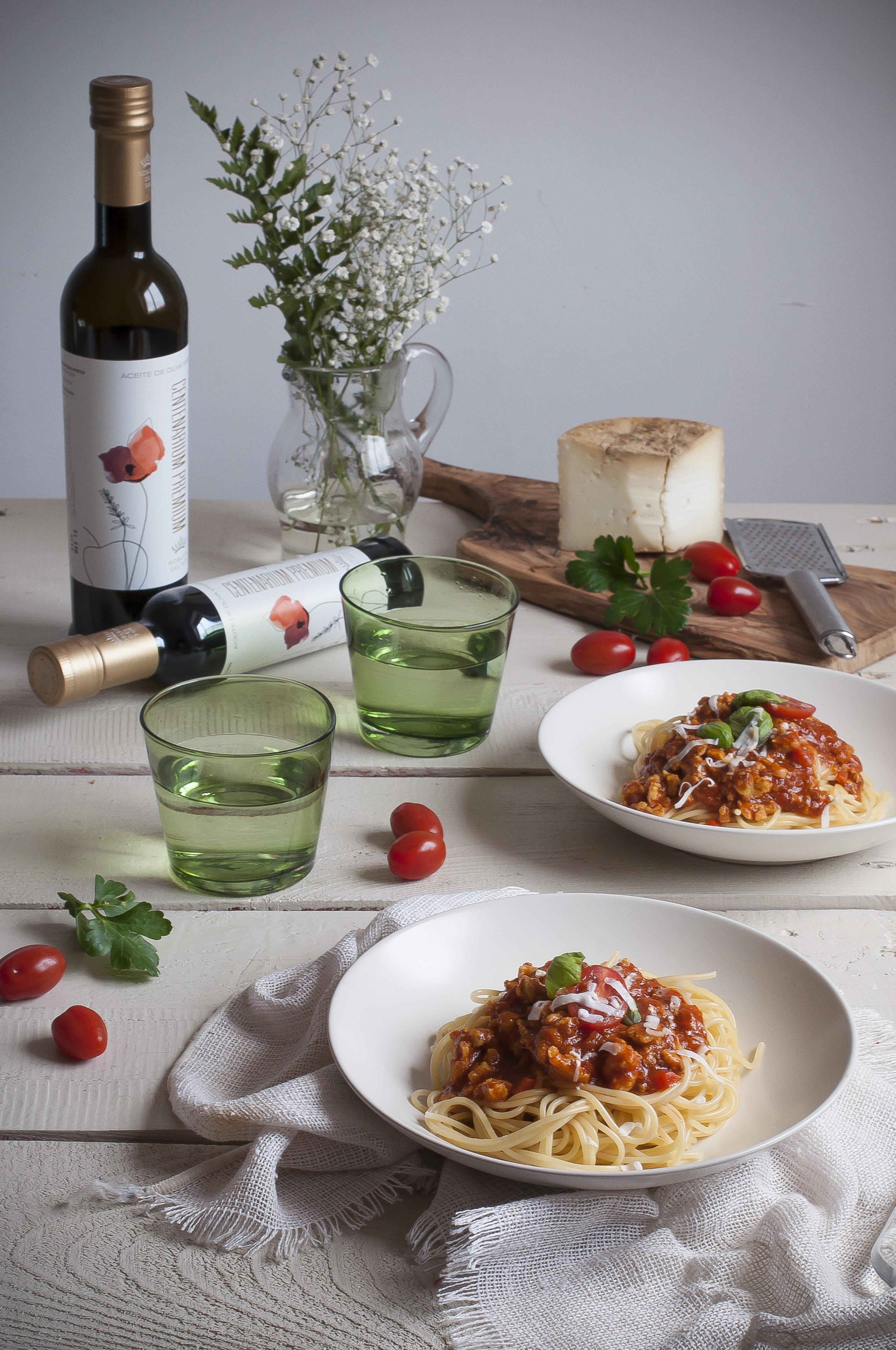 Spaguettis Boloñesa con AOVE Nobleza del Sur
